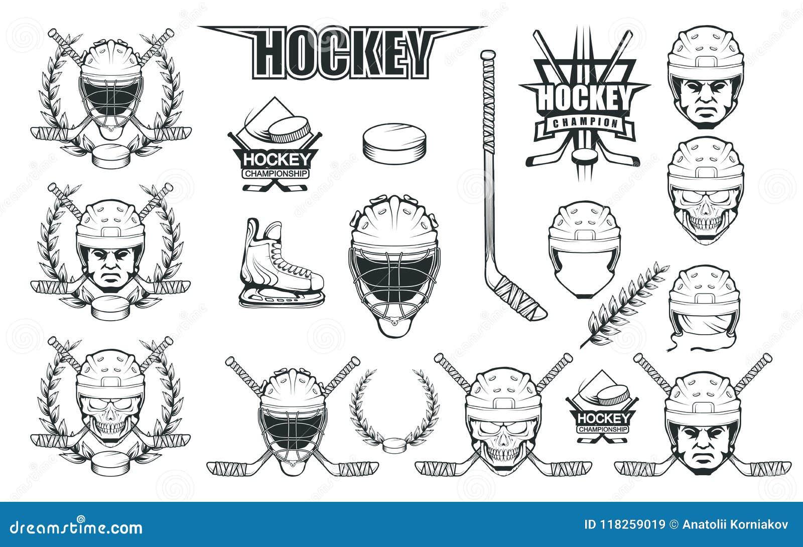 Set różni elementy dla hokejowy bawić się Hokejowy hełm Fachowe lodowe łyżwy ilustracyjne Czaszka z hokejowym hełmem