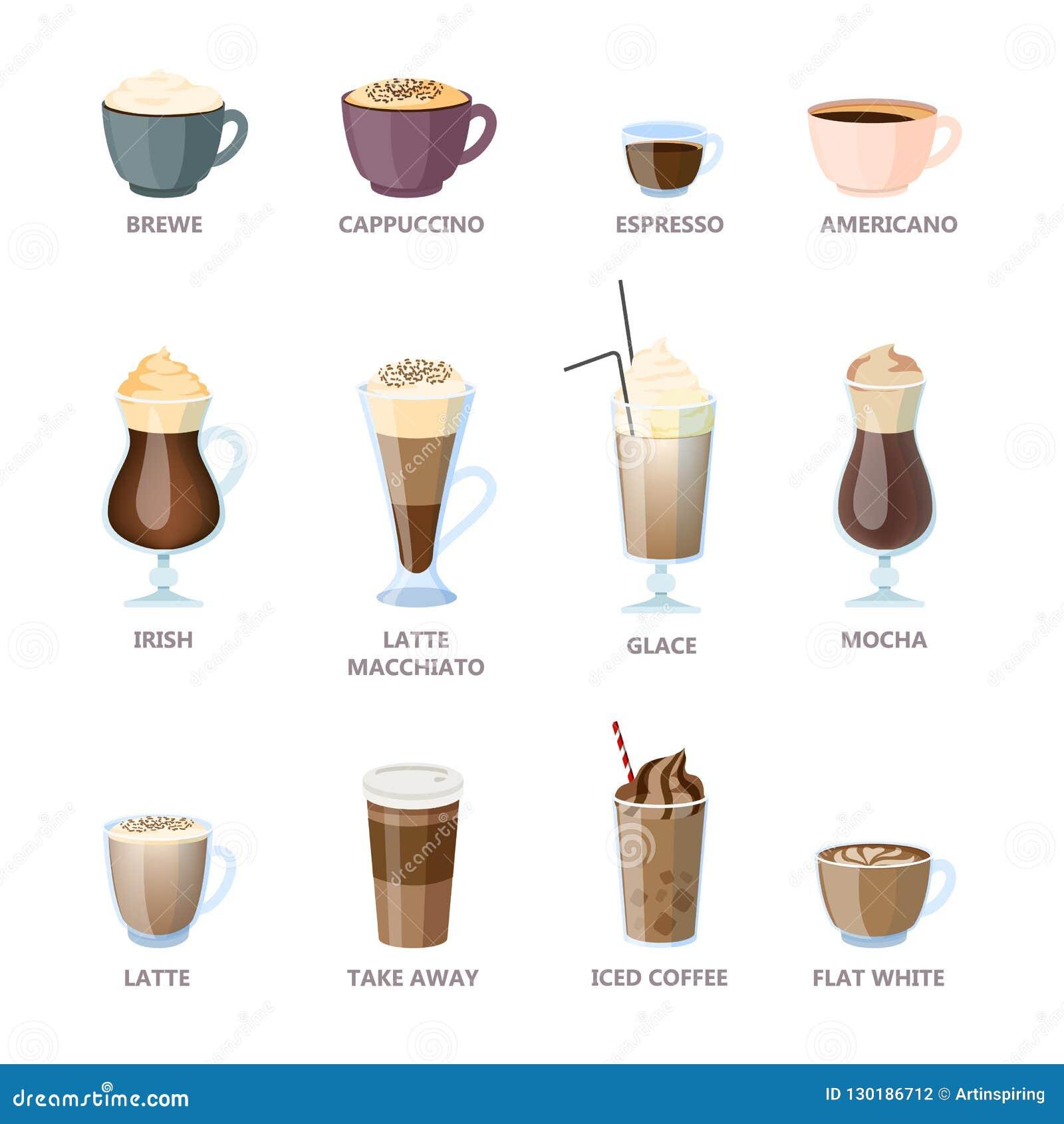 Set różni kawowi typy Americano i cappuccino