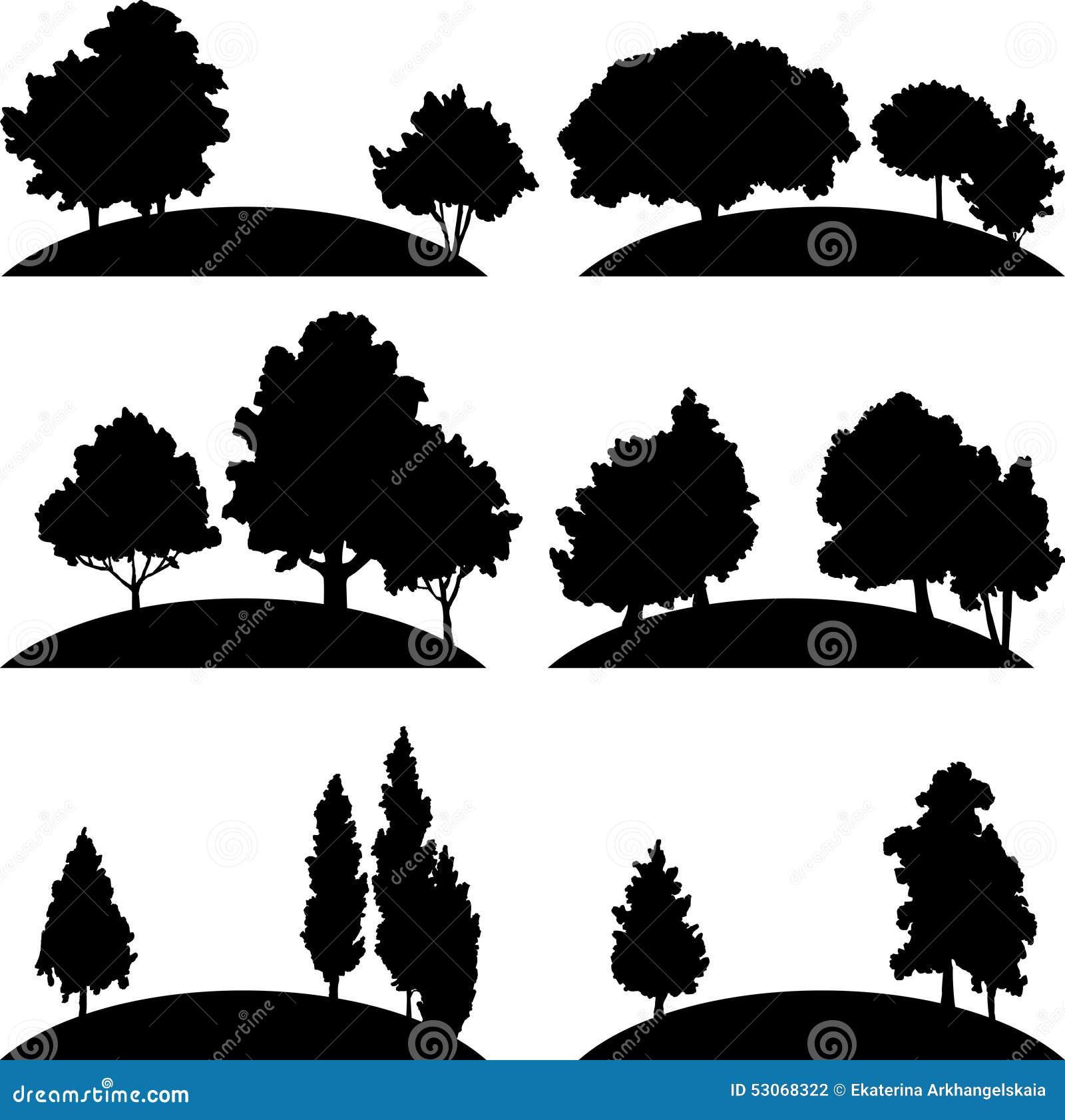 Set różni krajobrazy z drzewami