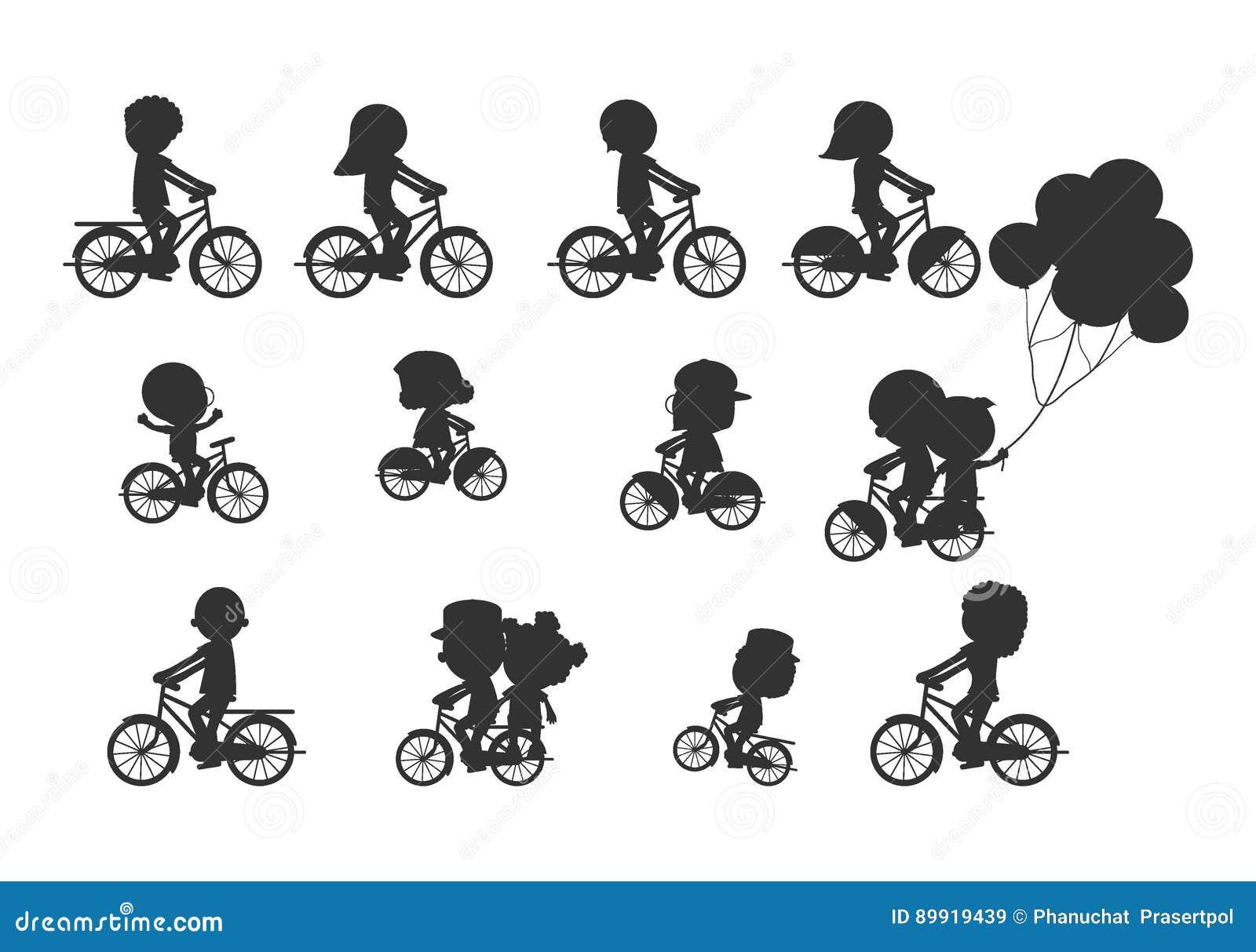 Set różnorodne bicyclists sylwetki, Szczęśliwa rodzinna jazda jechać na rowerze, rodzina Jechać na rowerze Wpólnie, sporty rodzin
