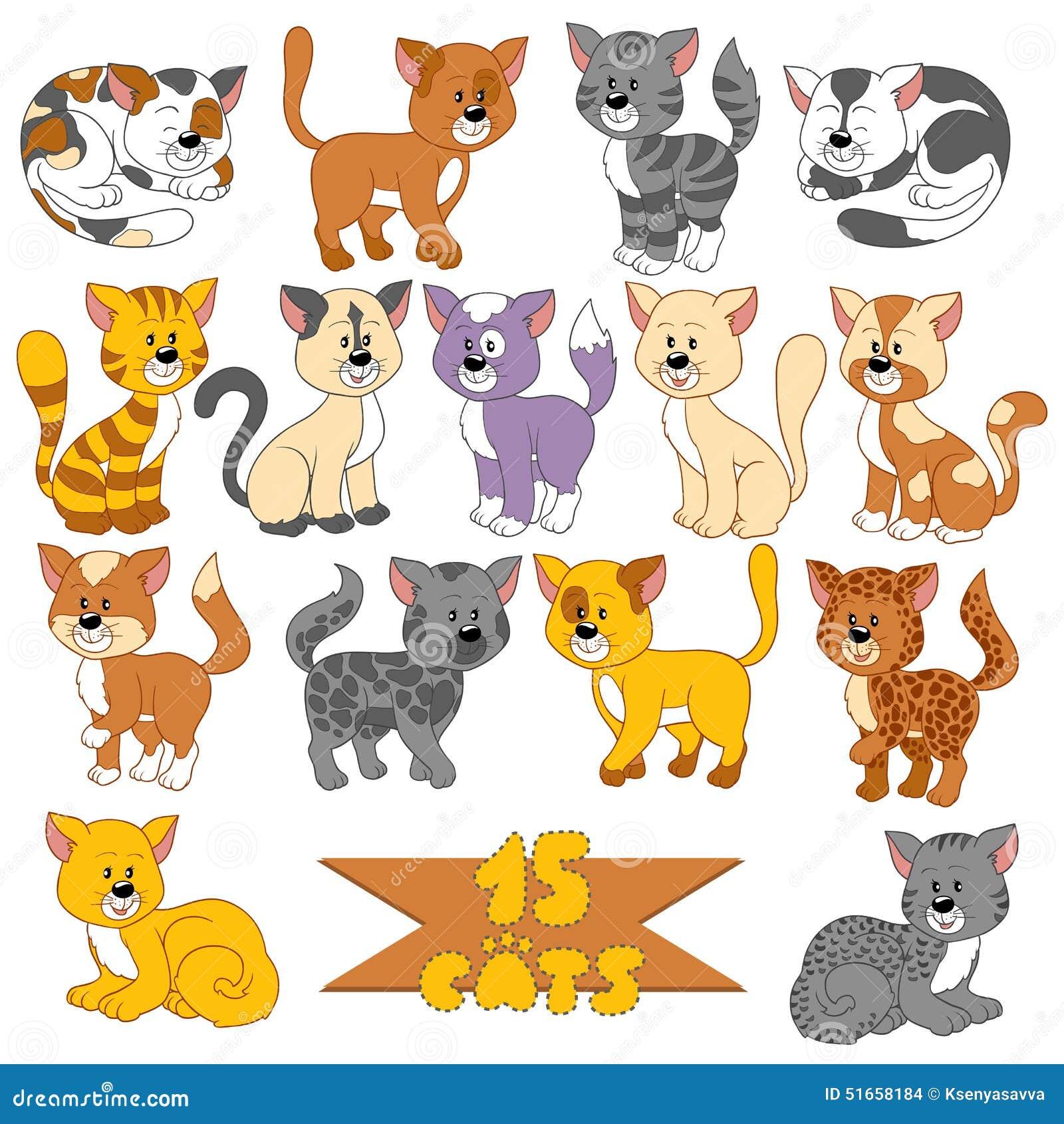 Set różnorodni śliczni koty