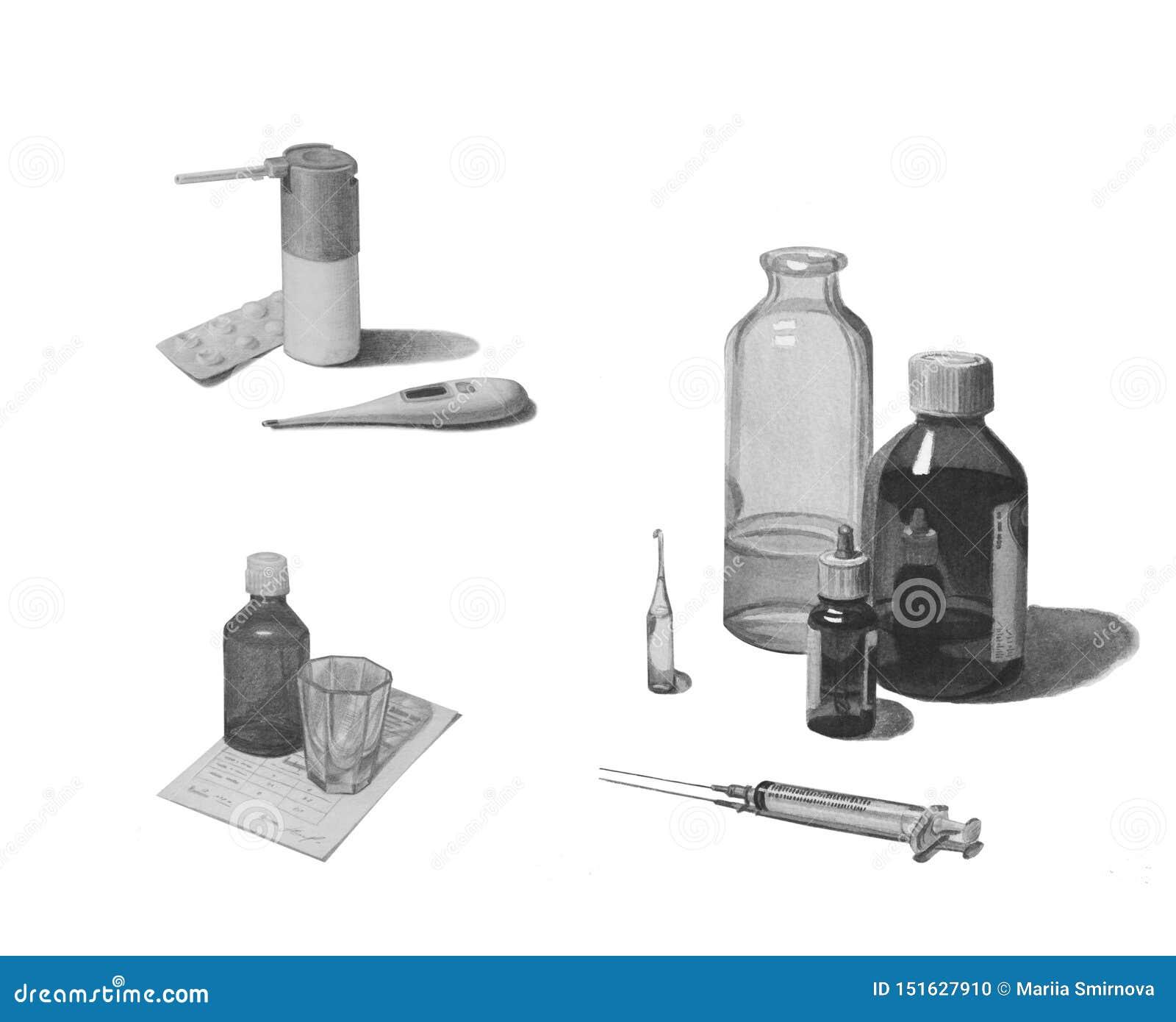Set różnorodni leki odizolowywający na bielu Czarny i bia?y o??wkowy rysunek