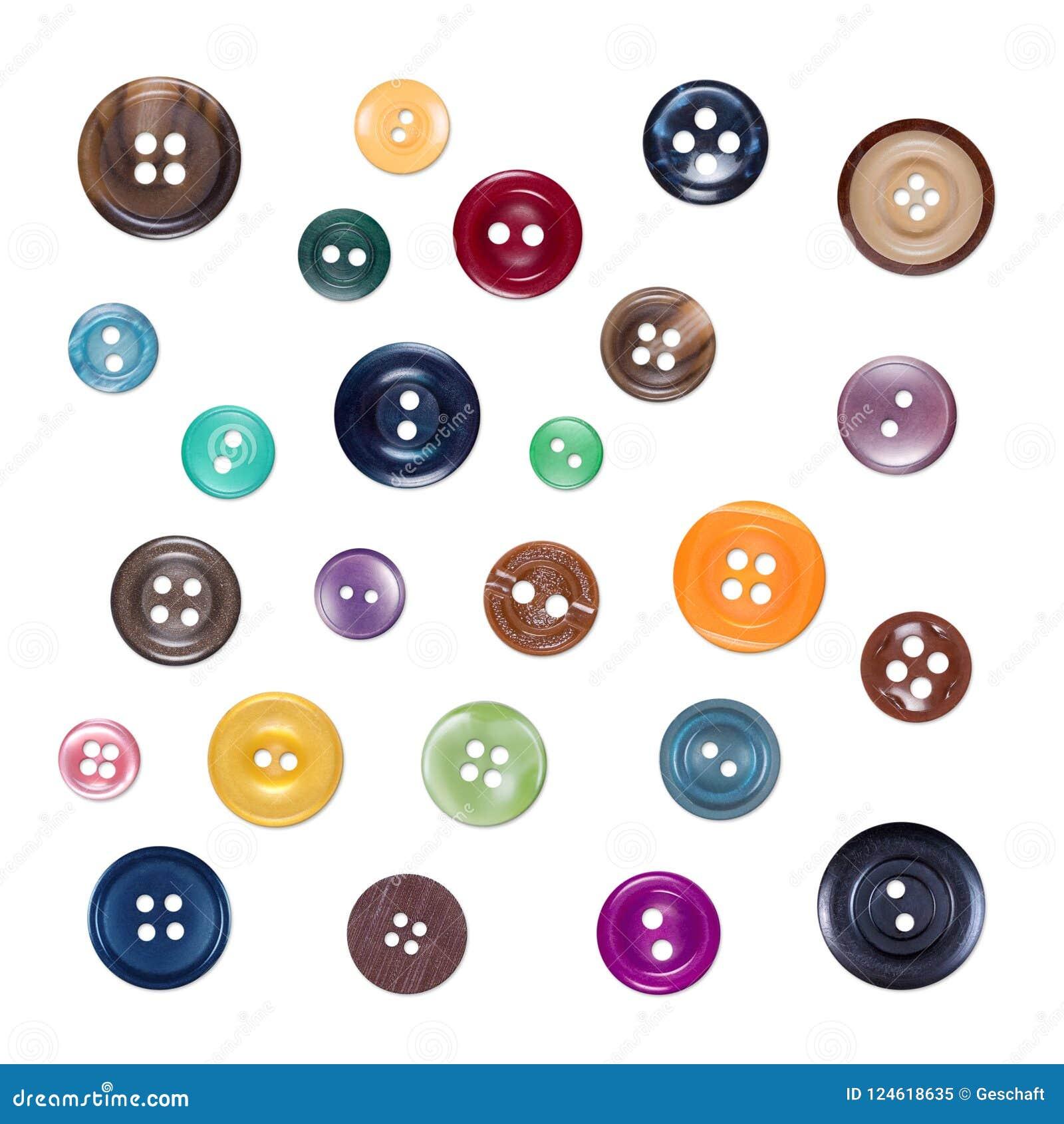 Set Różnorodni Szwalni Colourful Plastikowi guziki, Odosobniony na bielu
