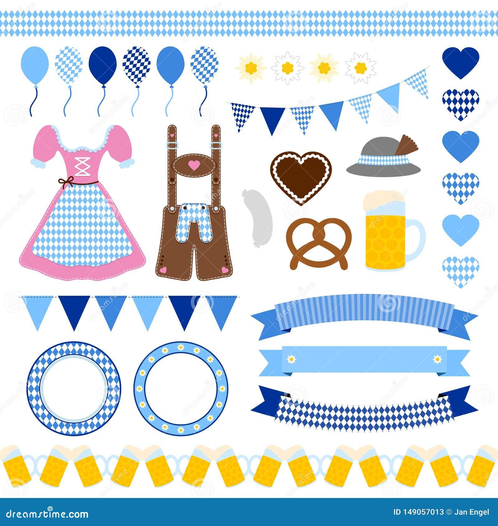 Set Różny Oktoberfest ikon diamentu wzór