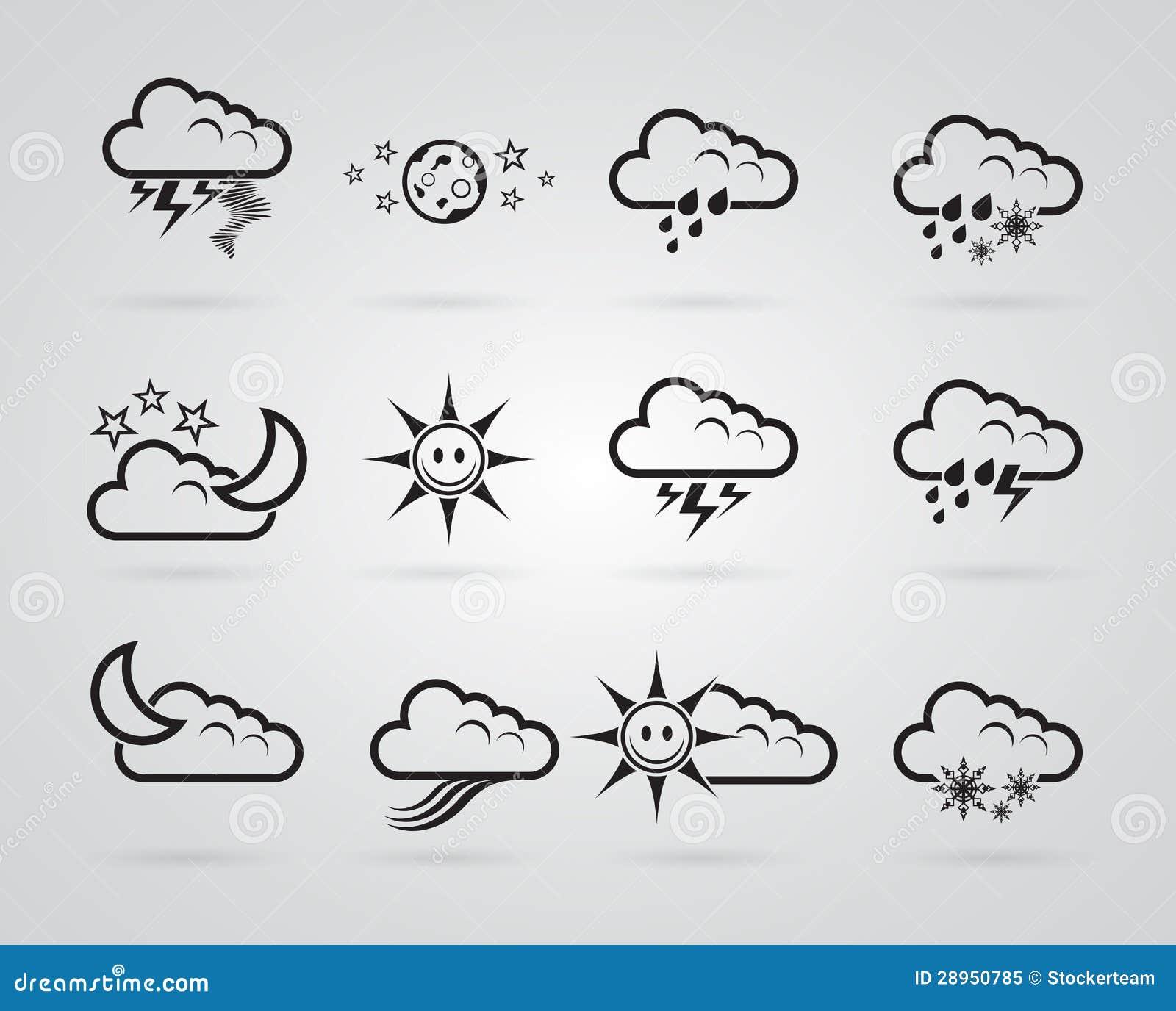 Set różny siwieje pogodowe ikony