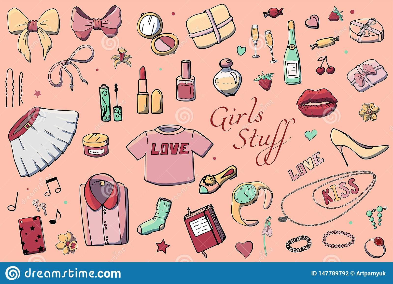 Set ręka rysująca szablon mody ilustracja z dziewczynami Faszeruje Set odzież, biżuteria, kosmetyki, prezenty i romans kobiet,