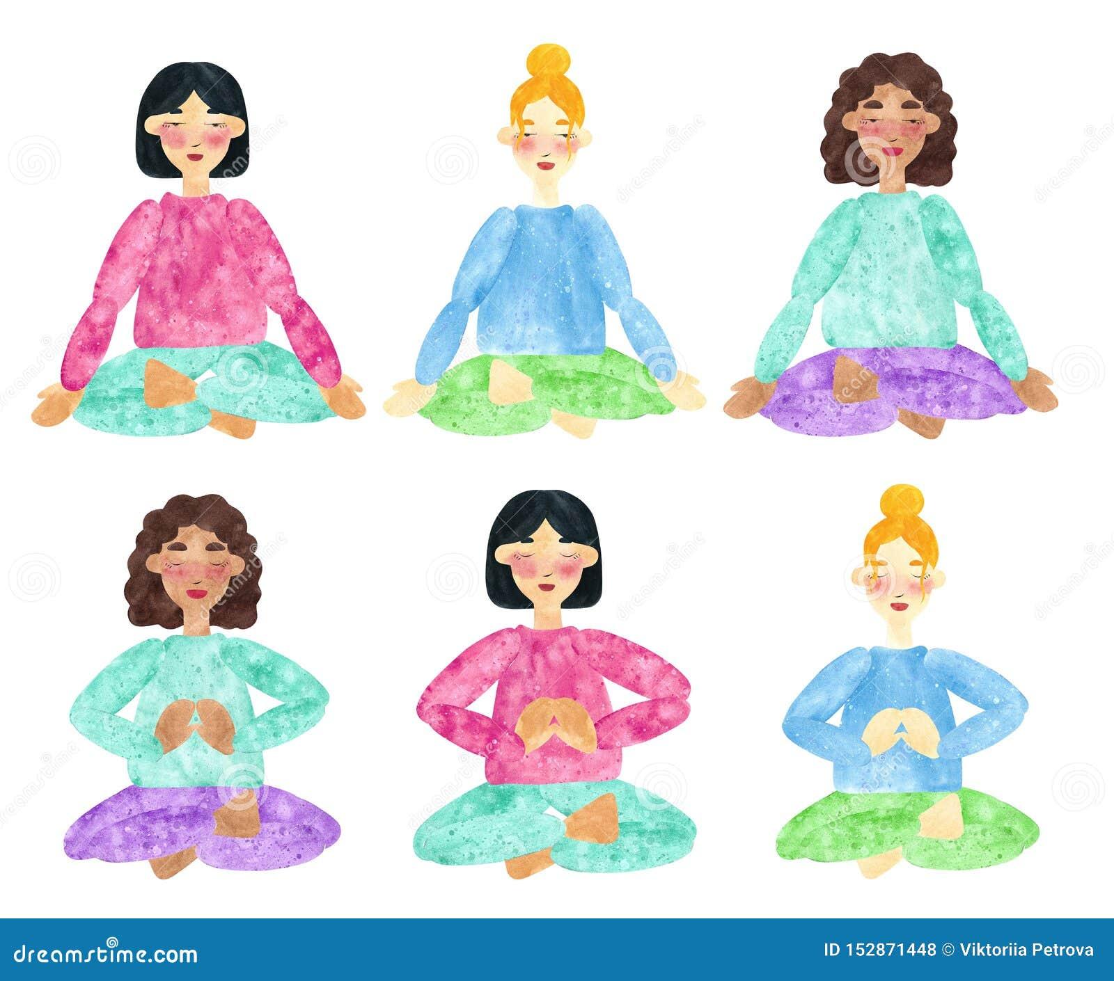 Set ręka rysujący akwarela kolaże dziewczyny z i różni skór brzmienia zmrokiem i blondynem, robi joga pozie
