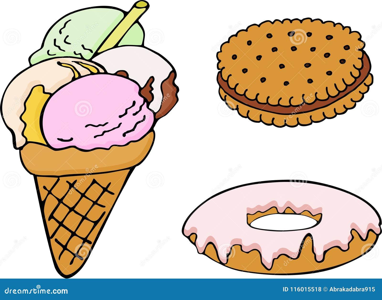 Set ręka rysujący pączek, lody, ciastko abstrakcjonistyczny koloru ryba ilustraci wektor