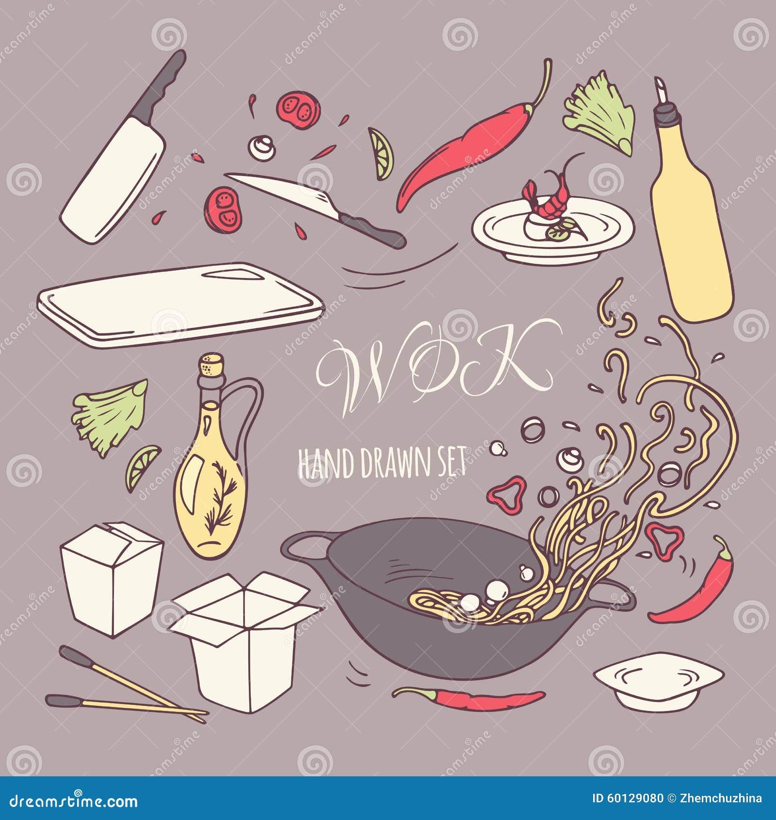 Set ręka rysujący wok restauraci elementy Doodle azjata jedzenie