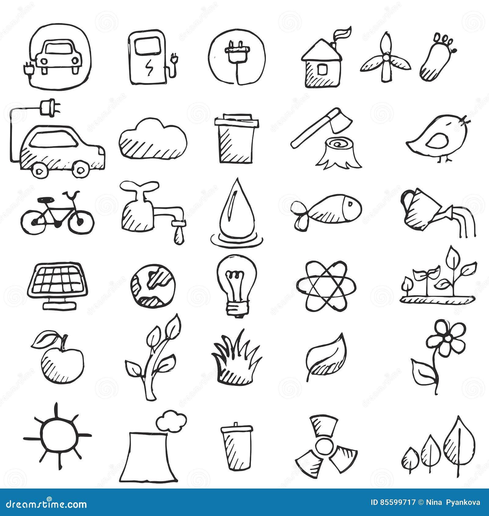 Set ręki rysować eco ikony