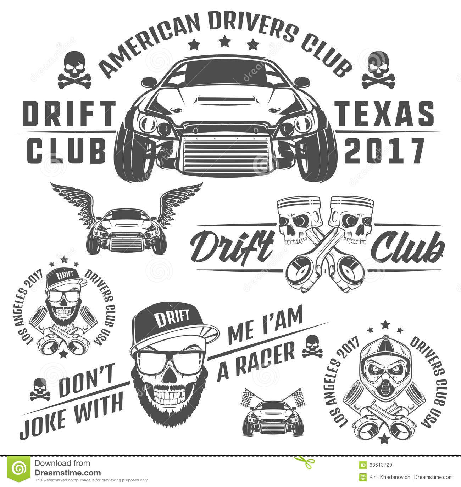 Set Of Racing And Drift Elements Designskull Racer