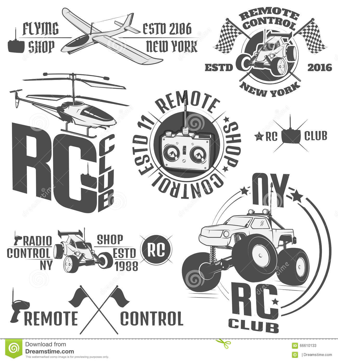 Set of radio controlled machine emblems,RC, radio controlled toys design elements for emblems, icon, tee shirt ,related emblems, l