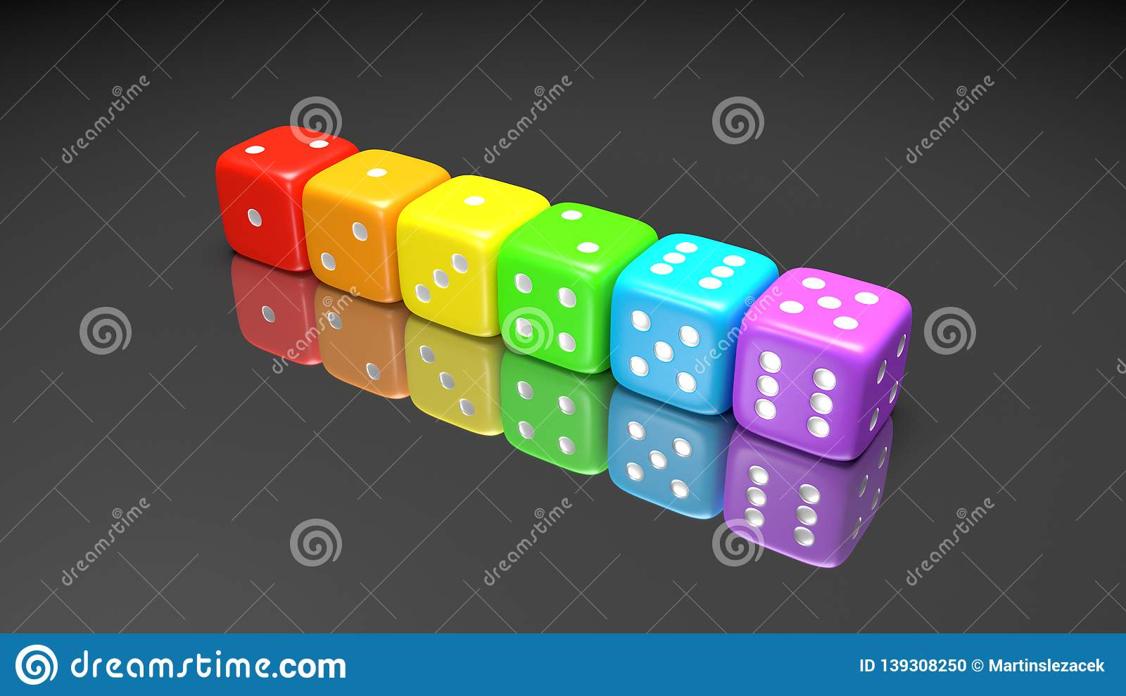 Set of rainbow colored dices on the gray background. Colorful play dice with numbers. Casino gamble playing tool. 3D render
