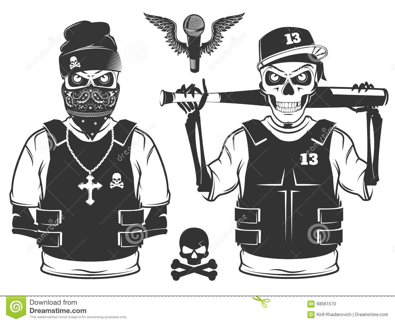 Set Of Rap Skull And H...