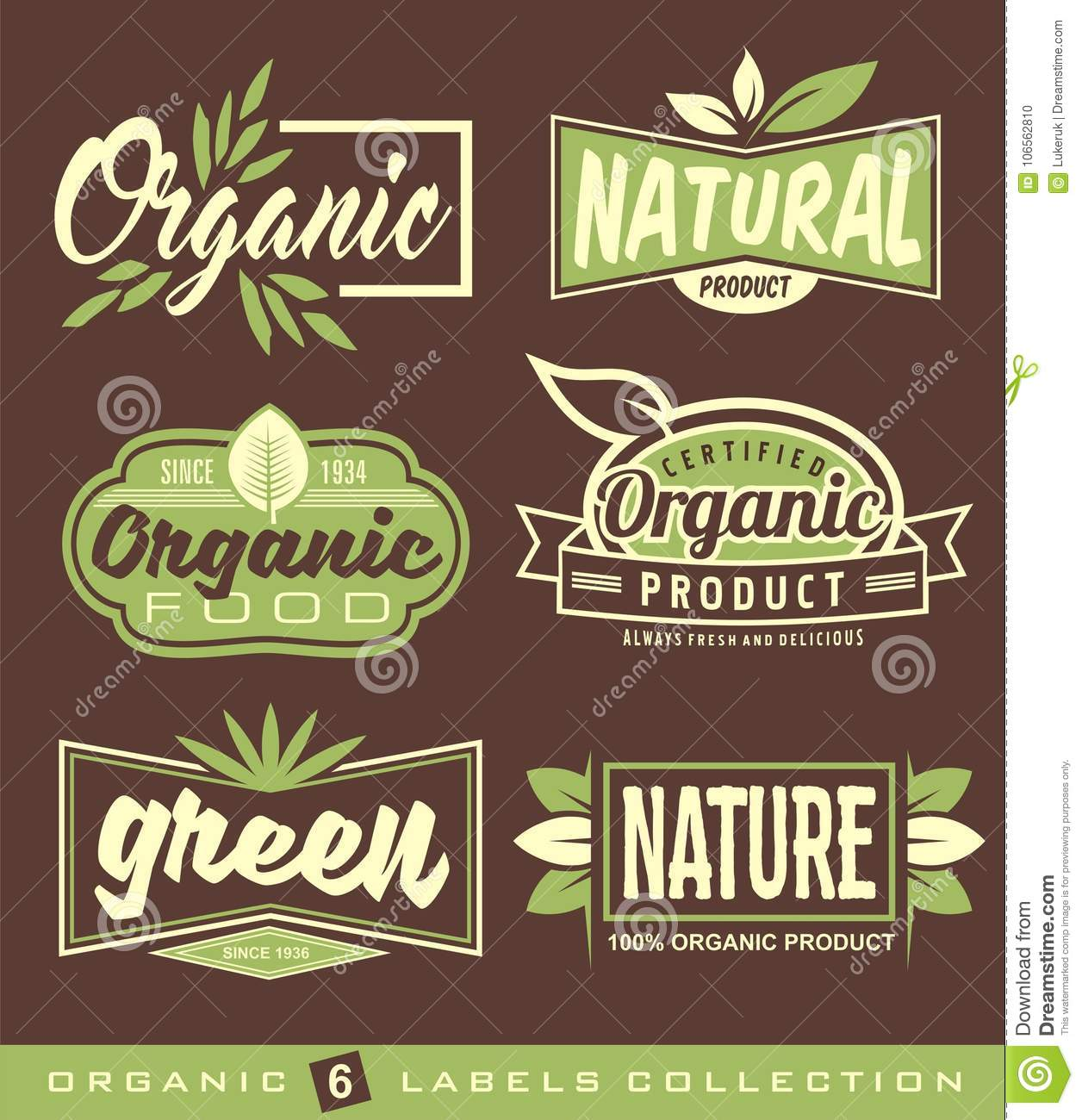 Organic healthy food signs set of raw vegan healthy food labels stickers and design elements
