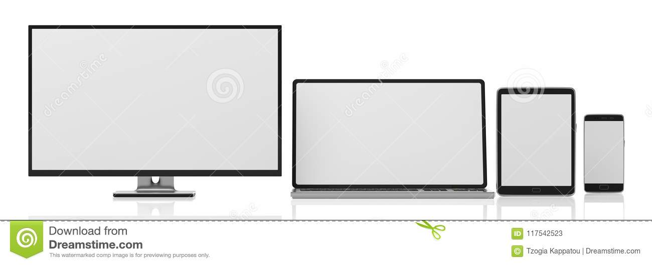 Set of realistic blank monitors. Computer monitor, laptop, tablet and smartphone isolated on white background, copy space. 3d illu