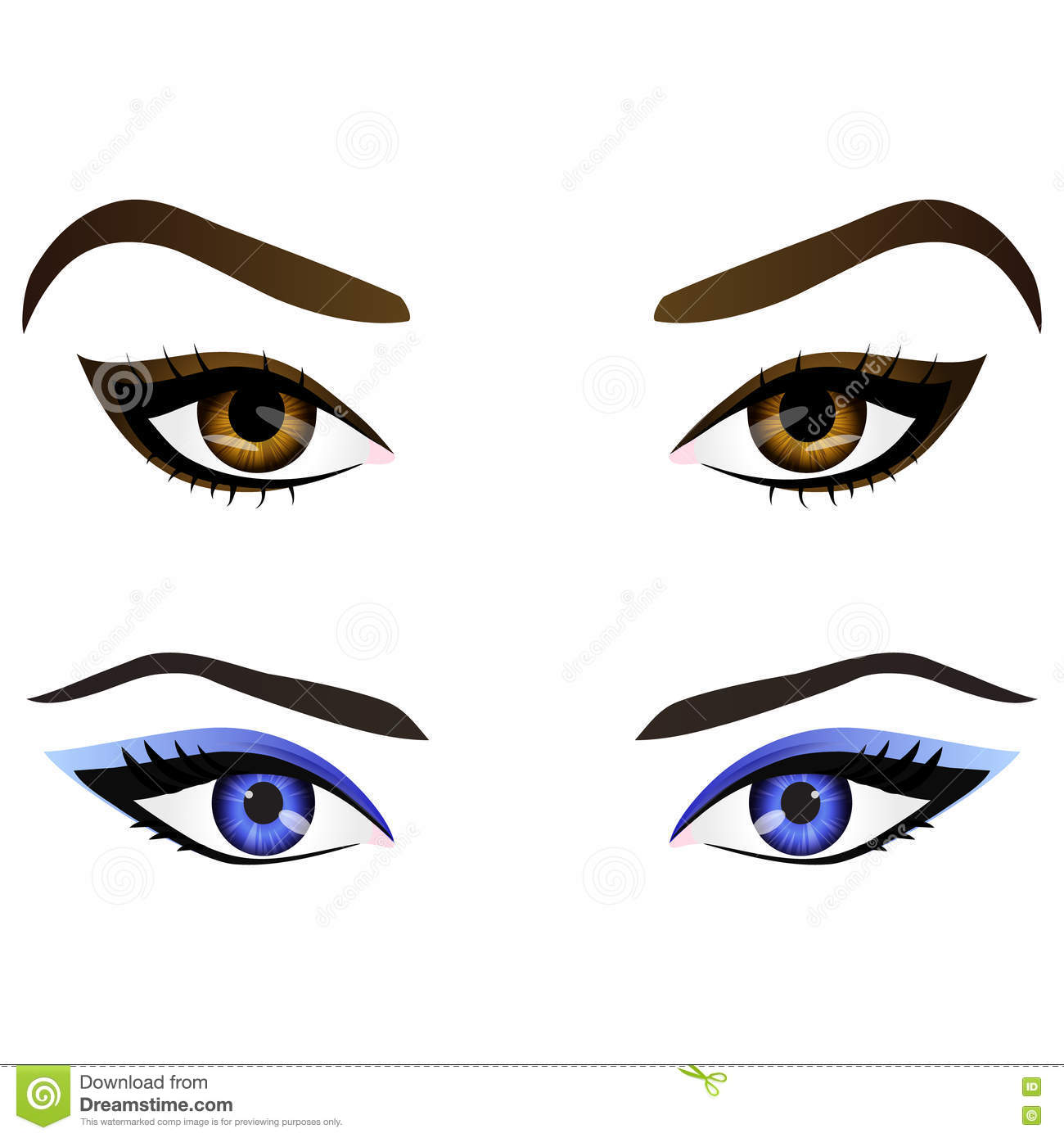 Set Of Realistic Cartoon Vector Female Eyes And Eyebrows Stock