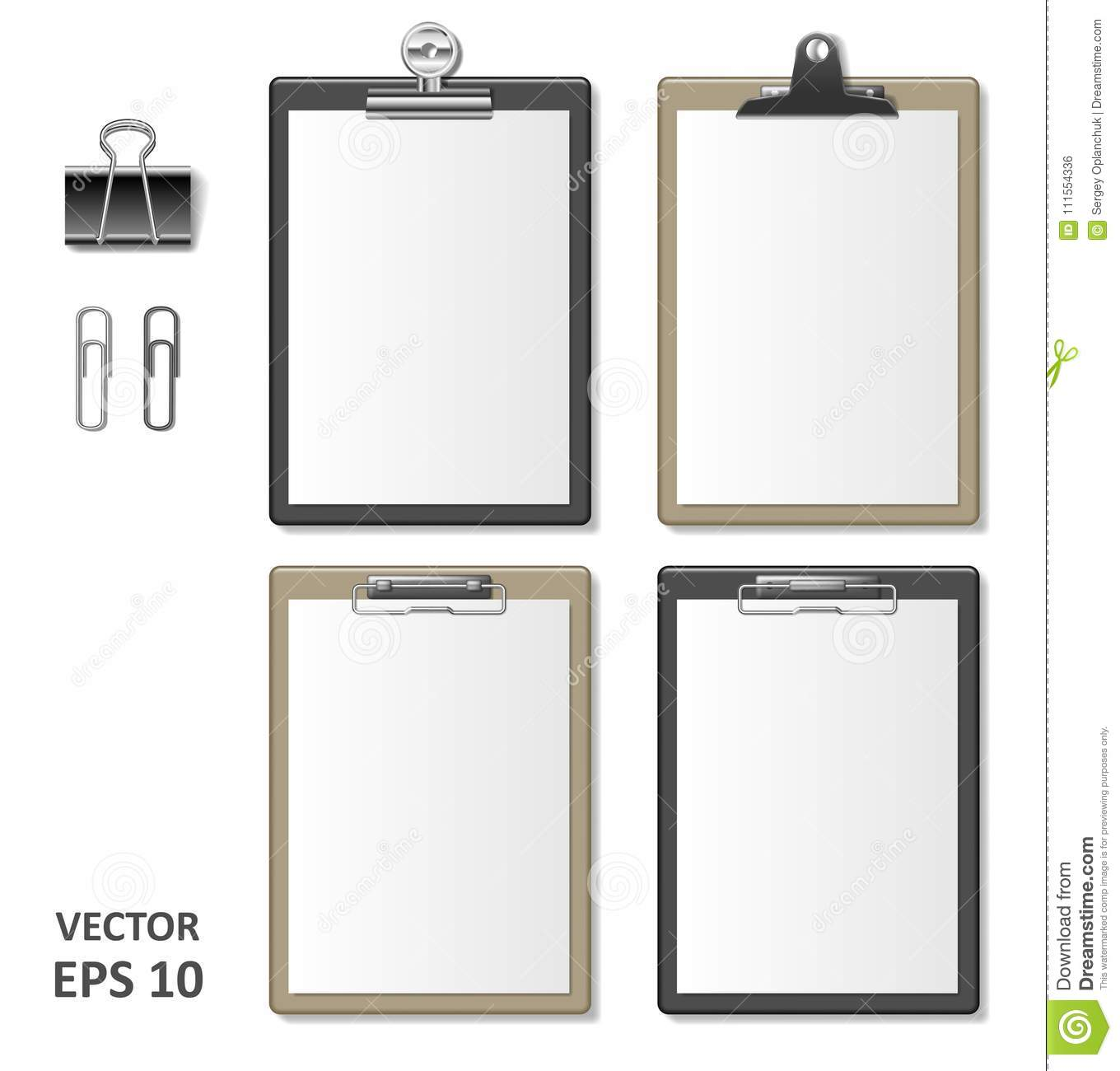 Set of Realistic clipboards with blank white paper sheet. Notepad information board Template for corporate identity
