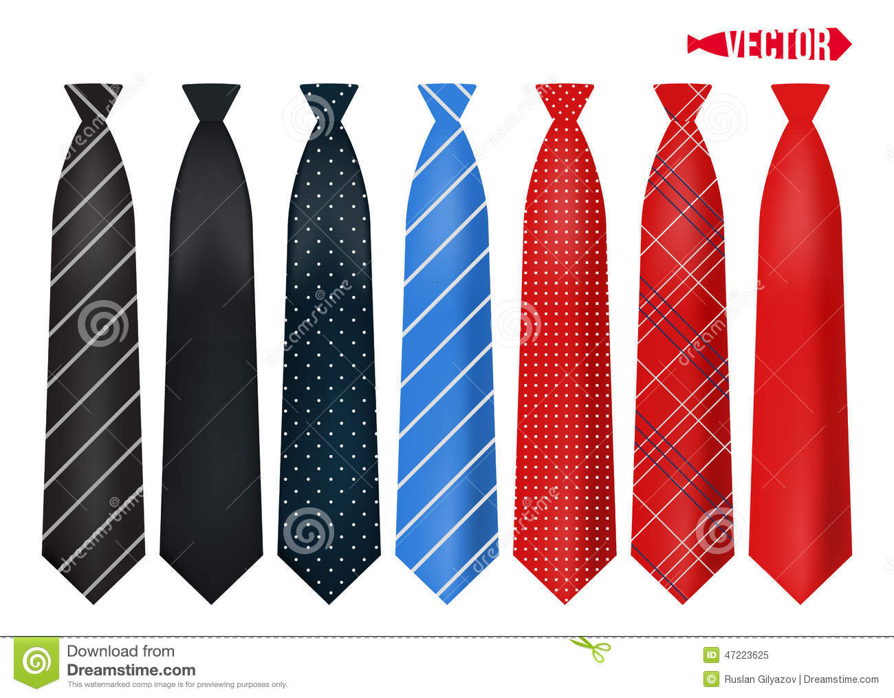 set realistic colorful neckties stock vector image 47223625