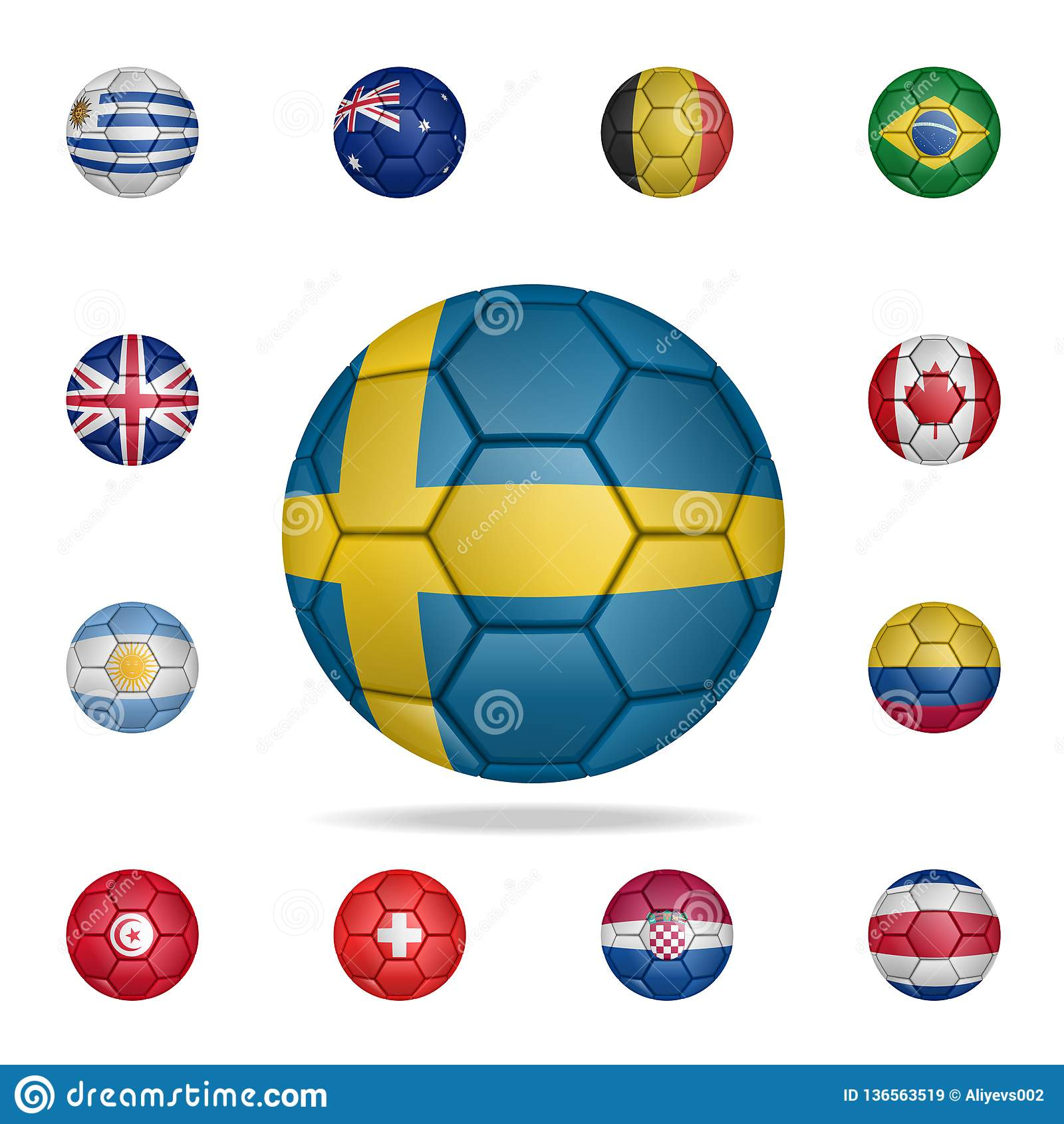 33c3304ce Set of realistic soccer ball painted in the national flag of Sweden for  mobile concept and web apps. Illustration of national soccer balls can be  used for ...