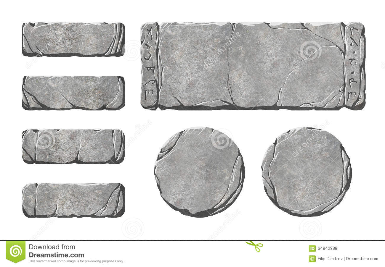 Set of realistic stone interface buttons and elements.