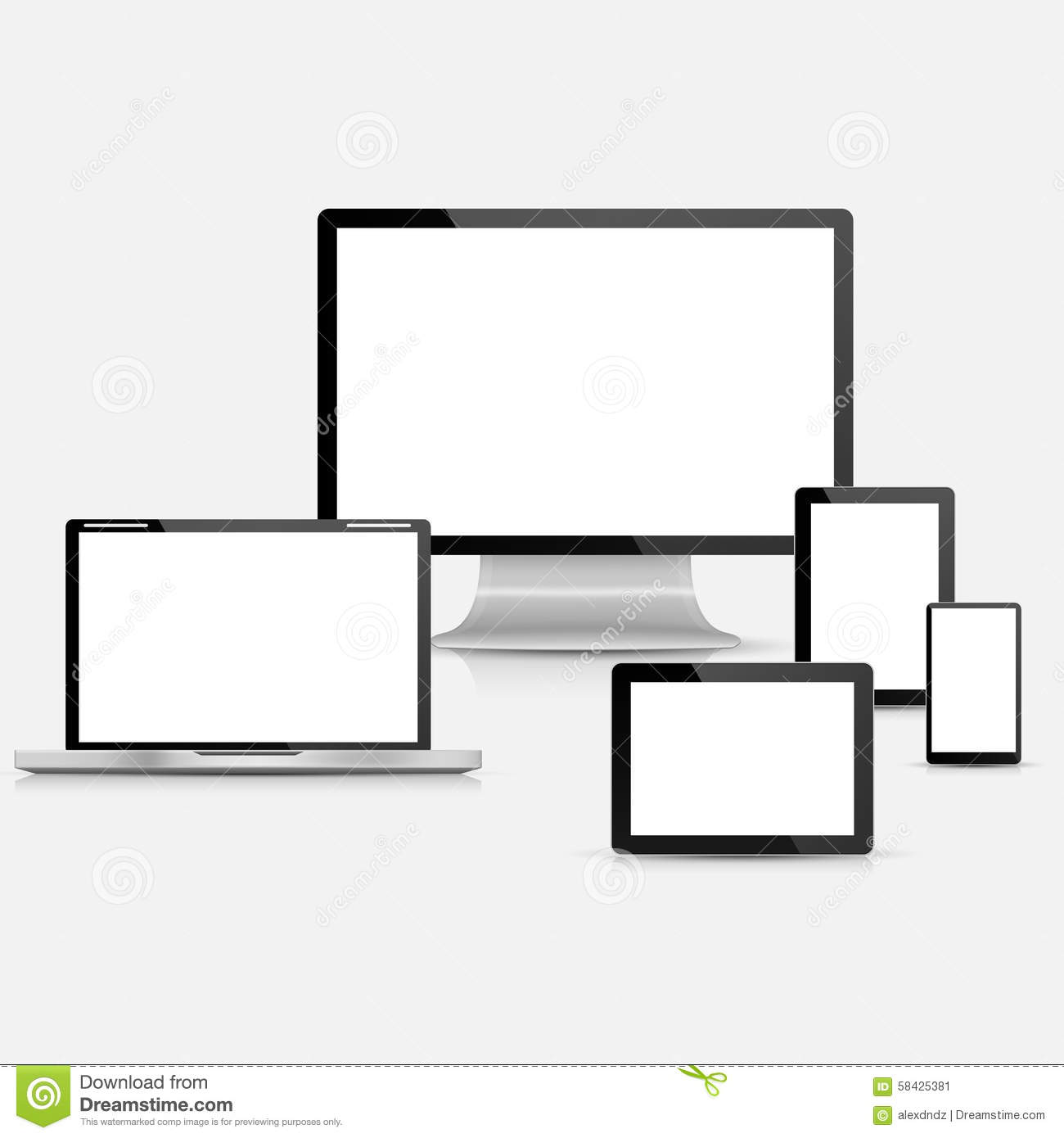 vector laptop tablet computer monitor and mobile phone template