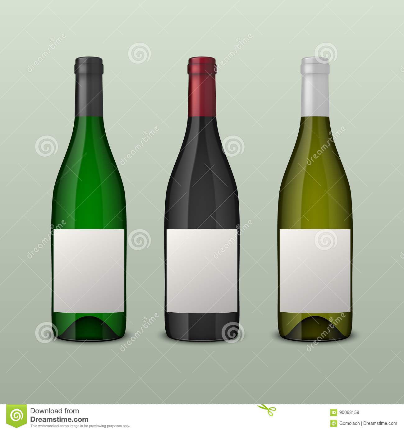 set of 3 realistic vector wine bottles with blank labels isolated on