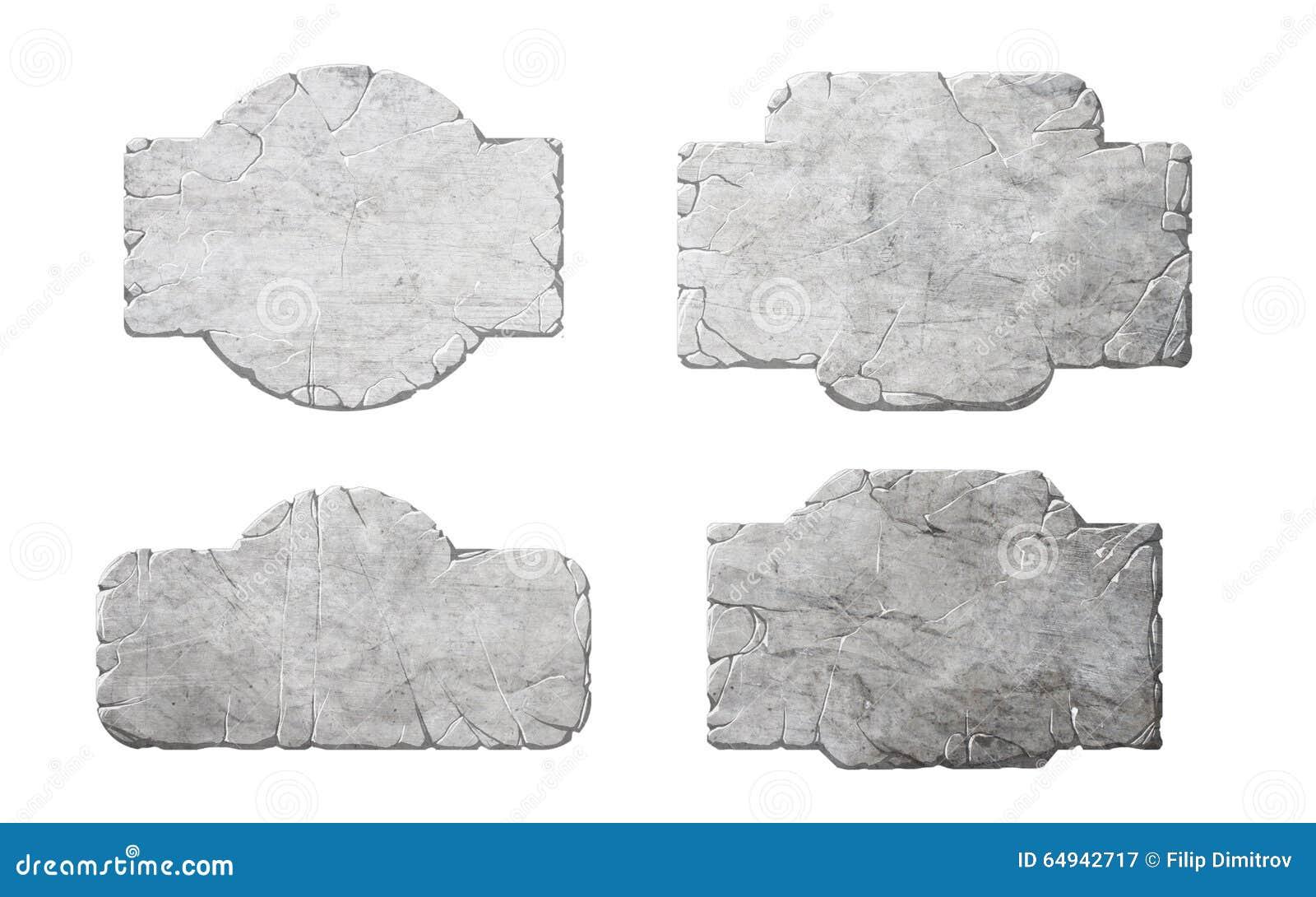 Set realistyczni kamienni interfejsów guziki, elementy i