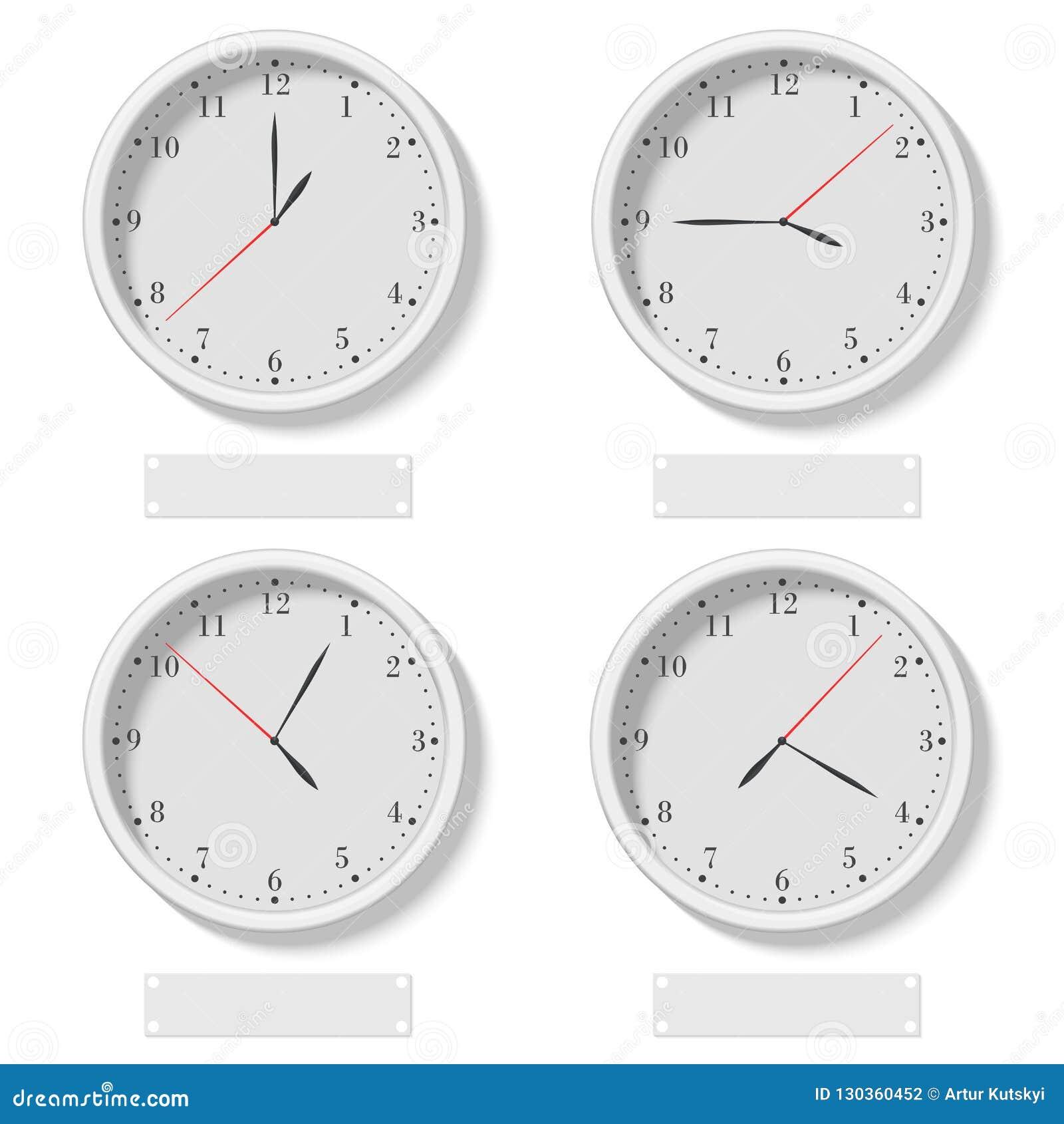 Set realistyczny klasyczny round osiąga pokazywać różnorodnego czas Światowy czasu zegar, różna strefa czasowa wektoru ilustracja