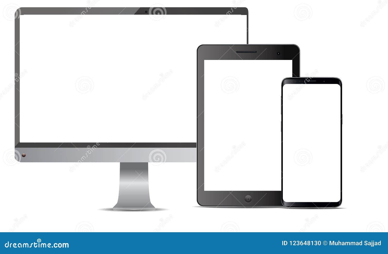 Set Realistyczny Wektorowy androidu telefonu komórkowego Ipad pastylki androidu Lcd Tv monitoru pokaz