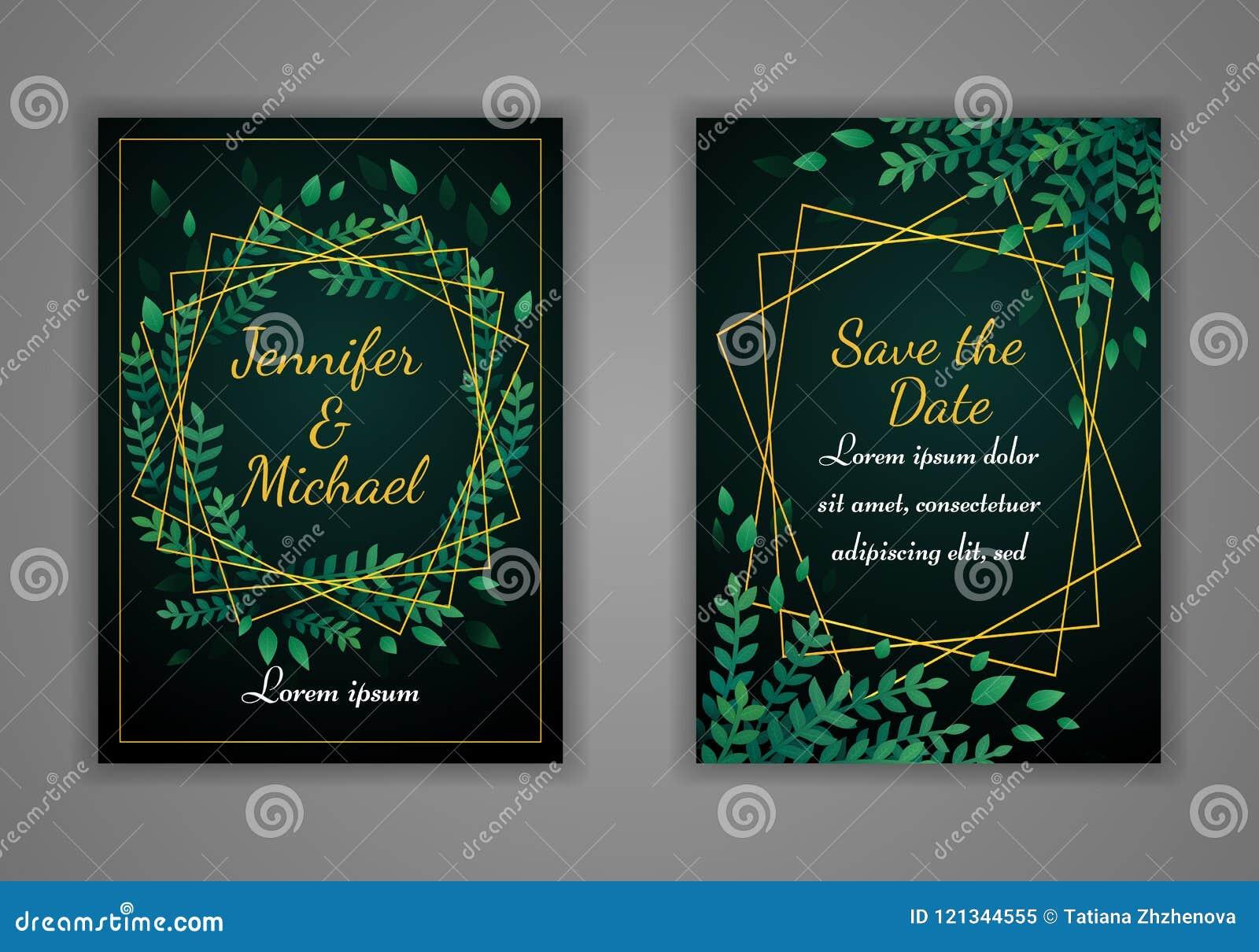 Set Of Rectangular Wedding Invitation Cards Green Leaves And Golden
