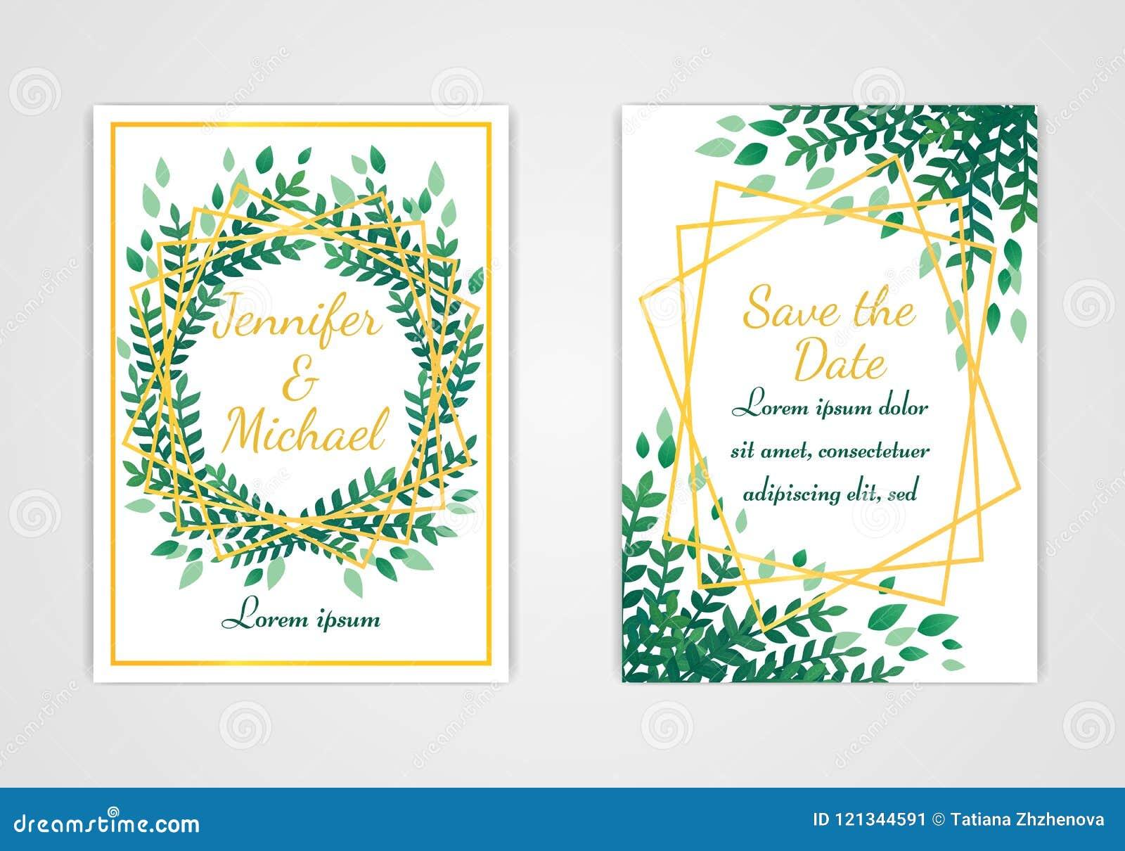 Set Of Rectangular Wedding Invitation Cards Green Leaves