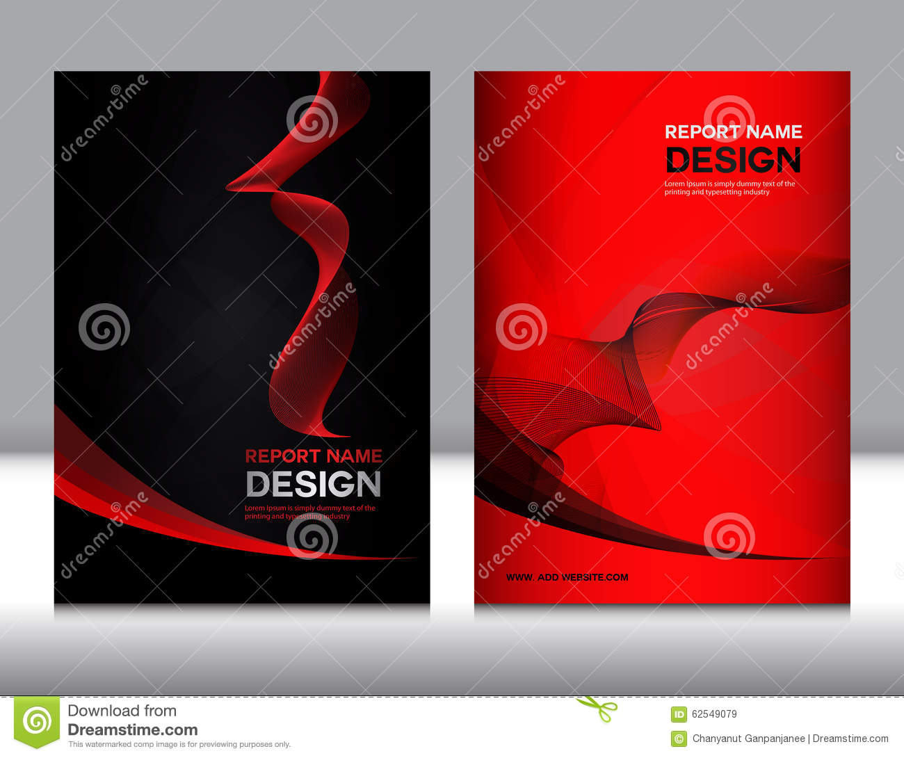 set red and black cover annual report design stock vector