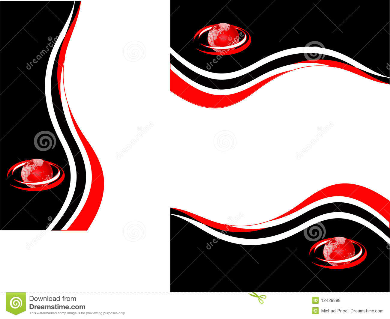 A set of red,black and white business stationary