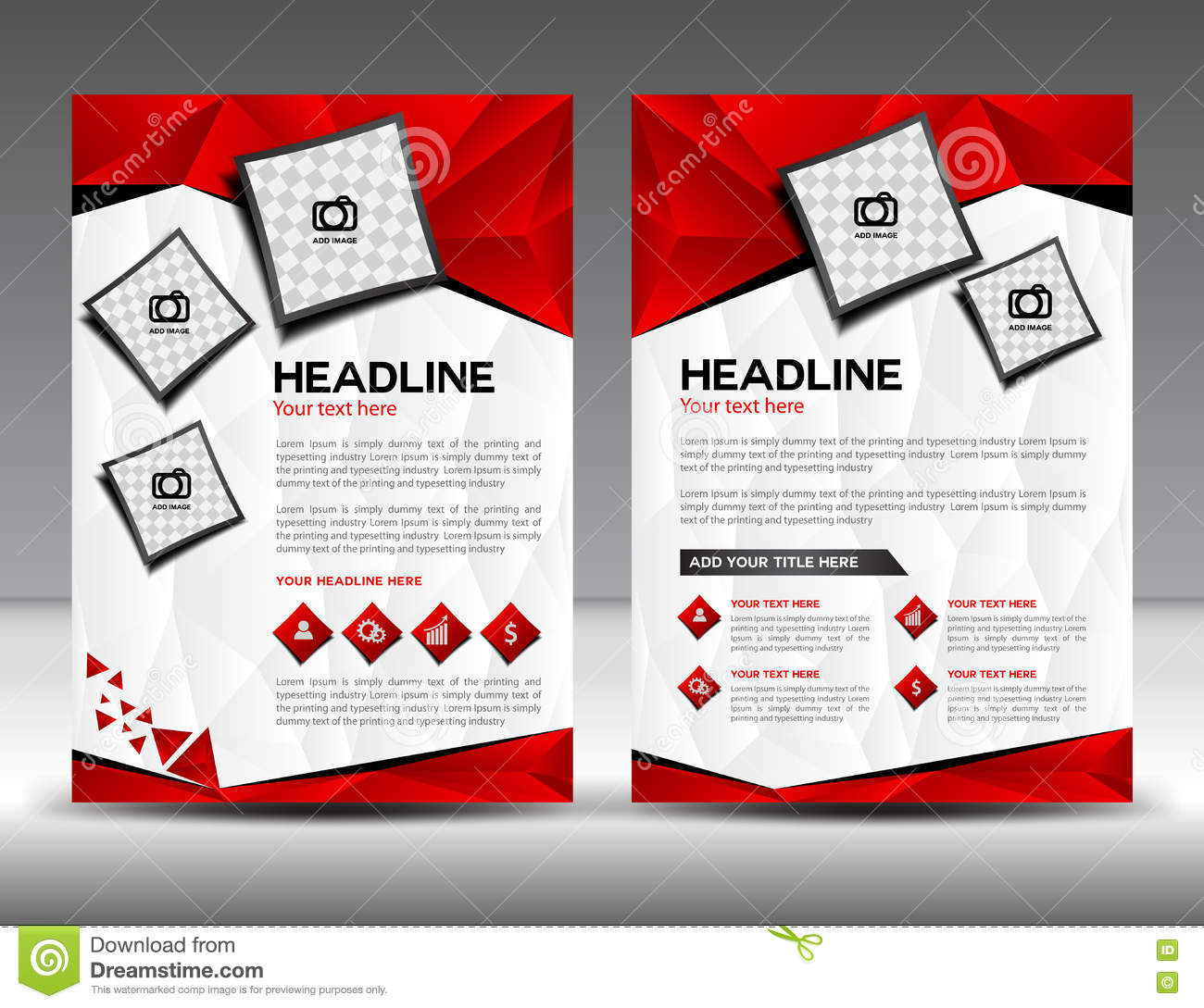 set of red business brochure flyer design layout template