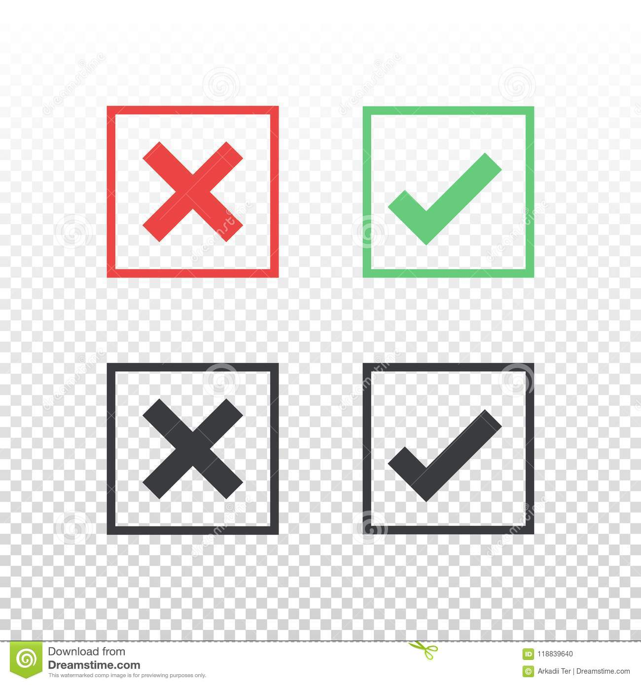 Set Of Red Green Black Square Icon Check Mark Icon On