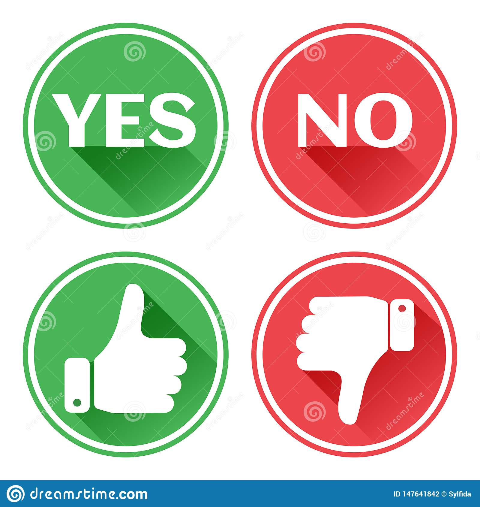 Set red and green icons buttons. Thumb up and down. Like and dislike. Confirmation and rejection. Yes and no. Vector