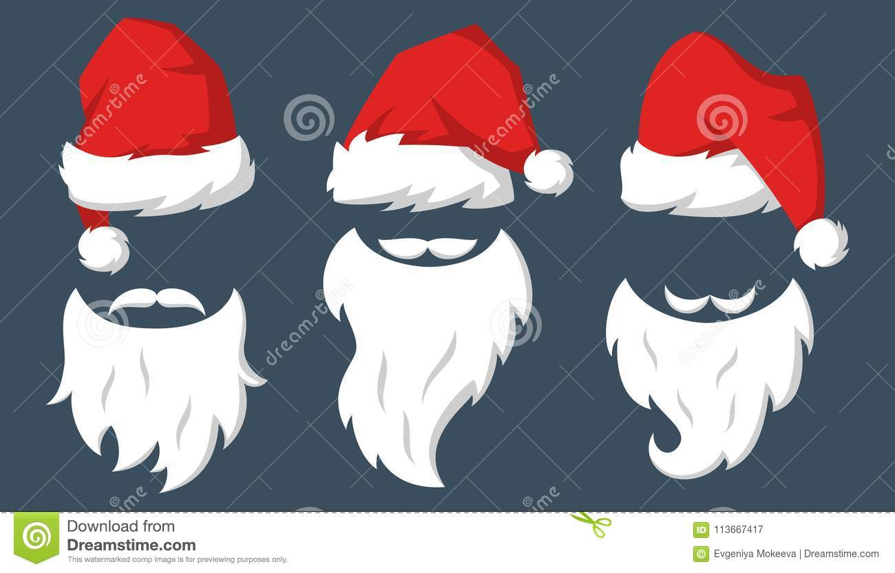 edbdc1c2072ce Set of Red hats and beards of Santa Claus. Vector illustration. More  similar stock illustrations