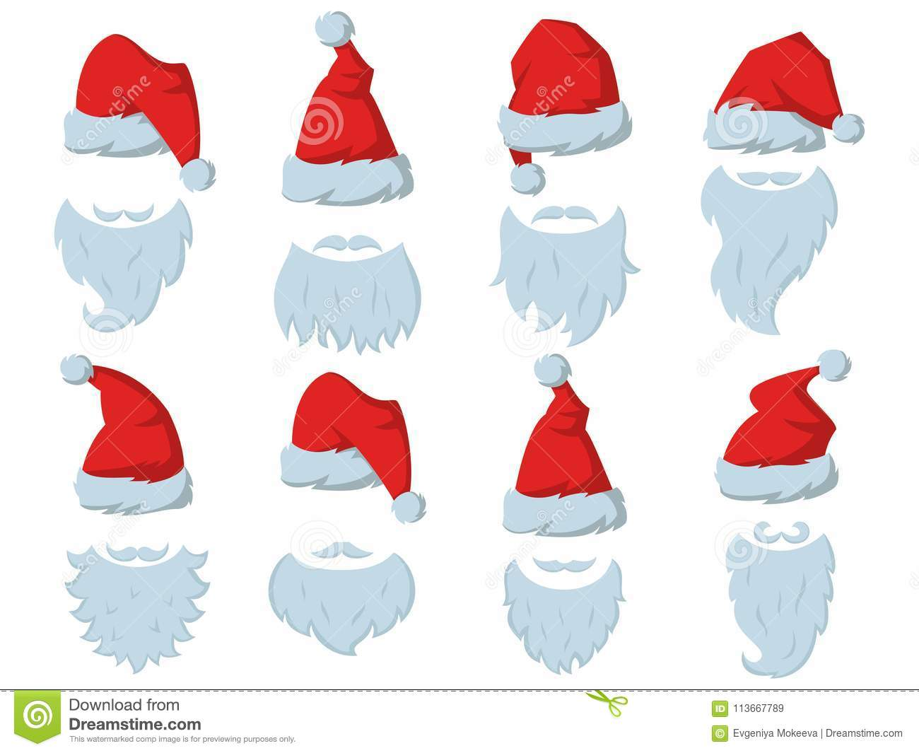 113cdcba781 Royalty-Free Vector. Set of Red hats and beards of Santa Claus.