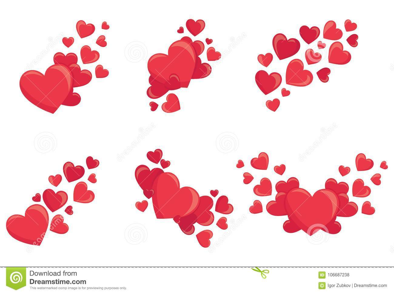 Set Of Red Hearts Collection Of Stylized Hearts With Patterns