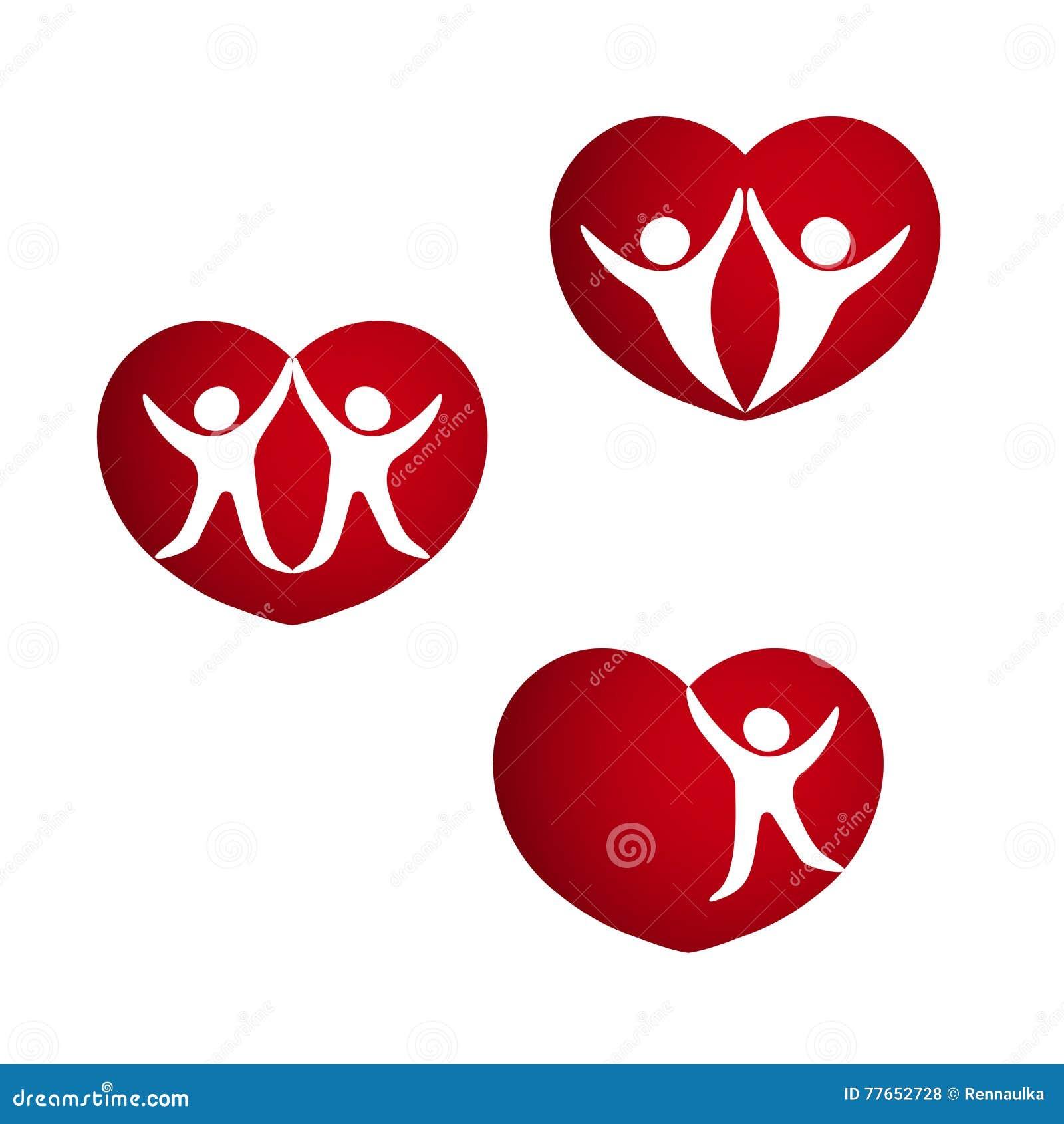 Set of red hearts symbols of life energy heart with silhouette set of red hearts symbols of life energy heart with silhouette of couple human symbol biocorpaavc