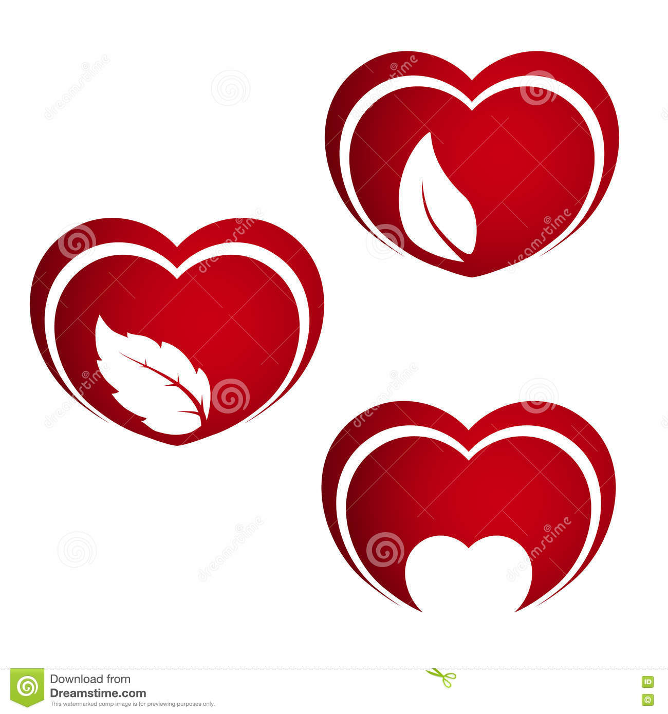 Set of red hearts symbols of natural energy heart with leaf and set of red hearts symbols of natural energy heart with leaf and small heart biocorpaavc