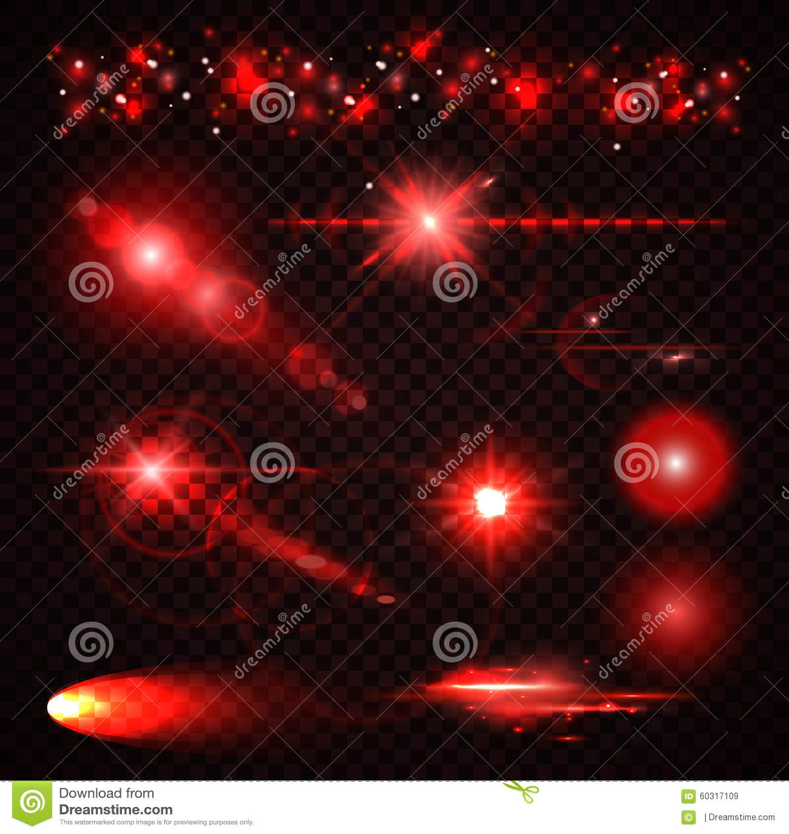 Set Of Red Light Effects Spotlights Flash Stars Stock Vector Image 6031