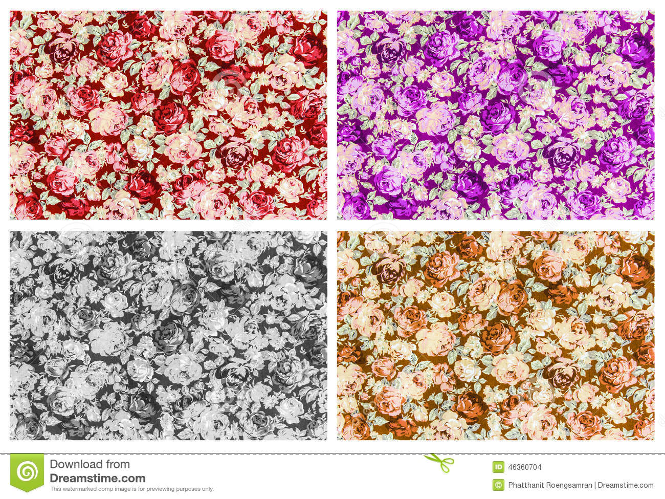 Set 4 Of Red Purple Gray And Brown Rose Fabric Background, Fragm Stock Illustration