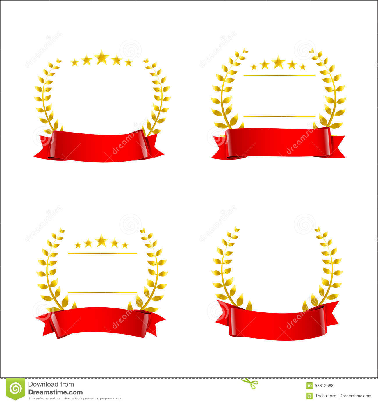 Set Of Red Ribbon And Gold Wreaths Blank Award Template Isolate – Template Award