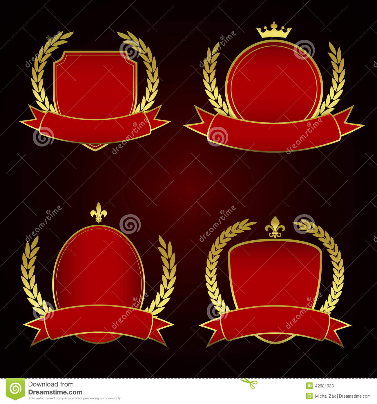 Set of red royal labels with golden lining and laurel for Laurel leaf crown template