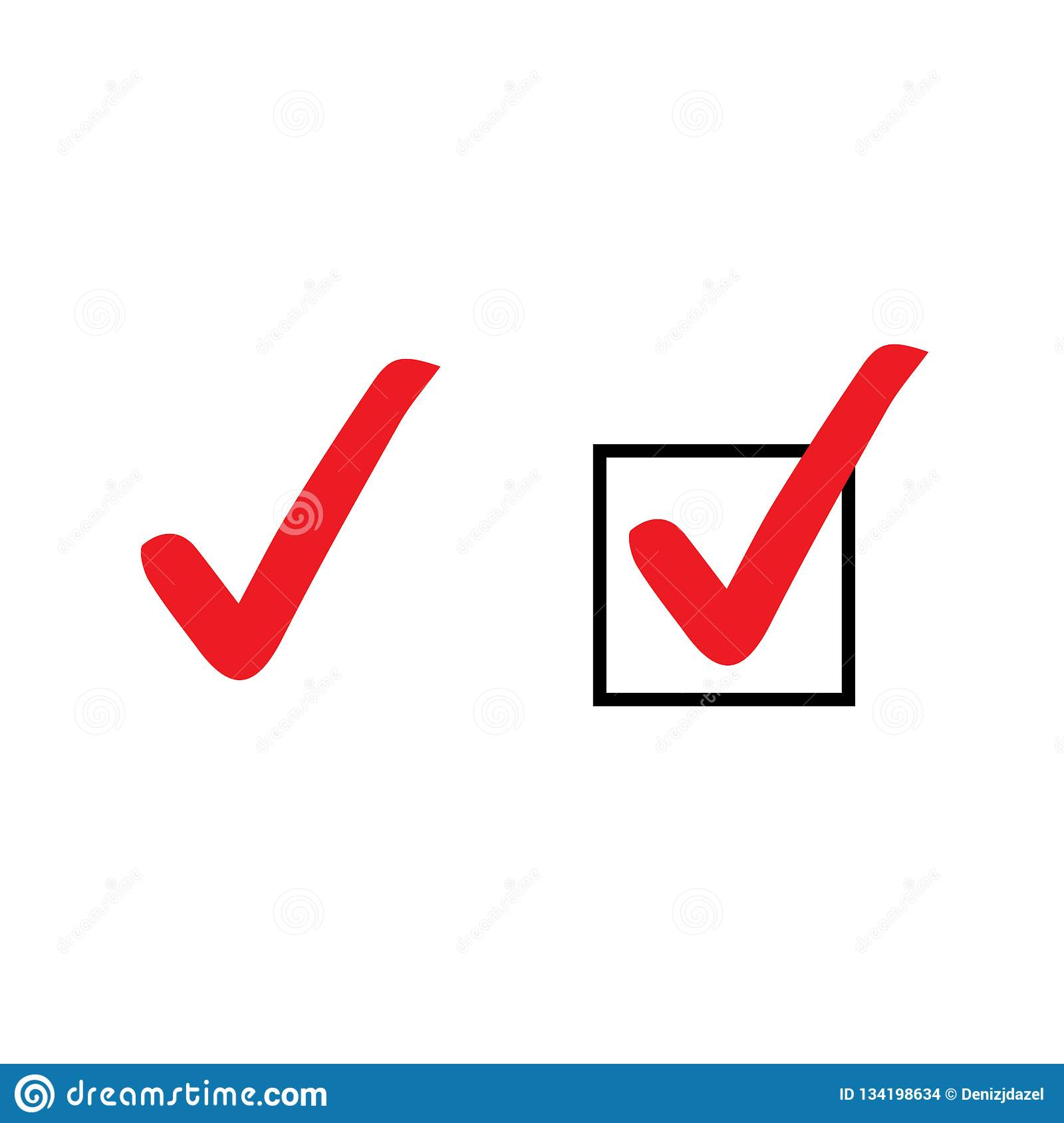 Set of red tick icons. Vector symbols set, checkmarks collection isolated on white background. Checked icon or correct choice sign