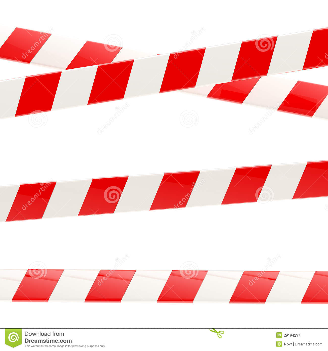 Set of red and white glossy barrier tapes