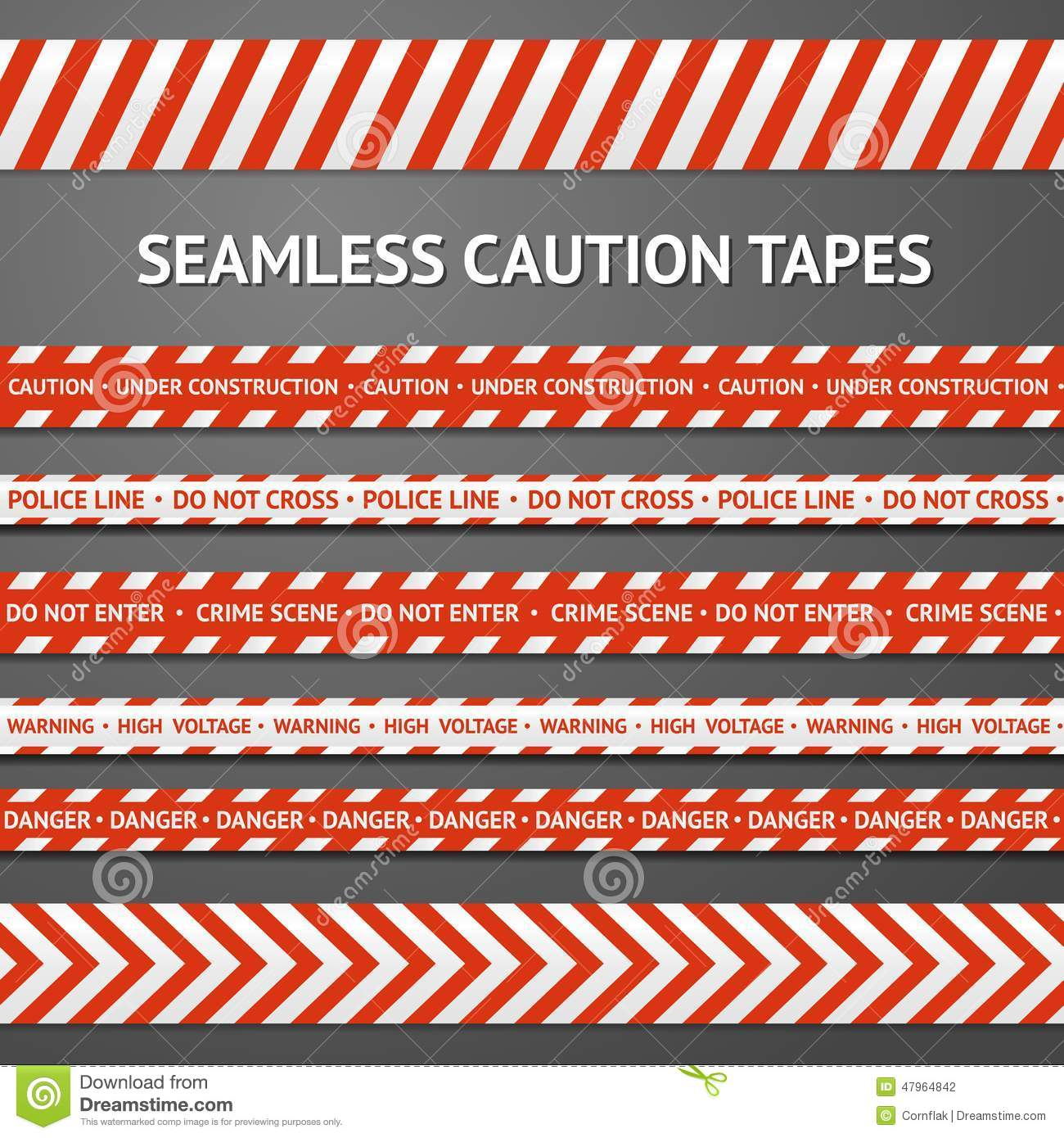Set Of Red And White Seamless Caution Tapes With Stock