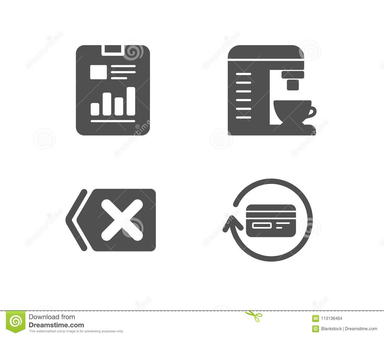 Remove, Coffee Machine And Report Document Icons  Refund